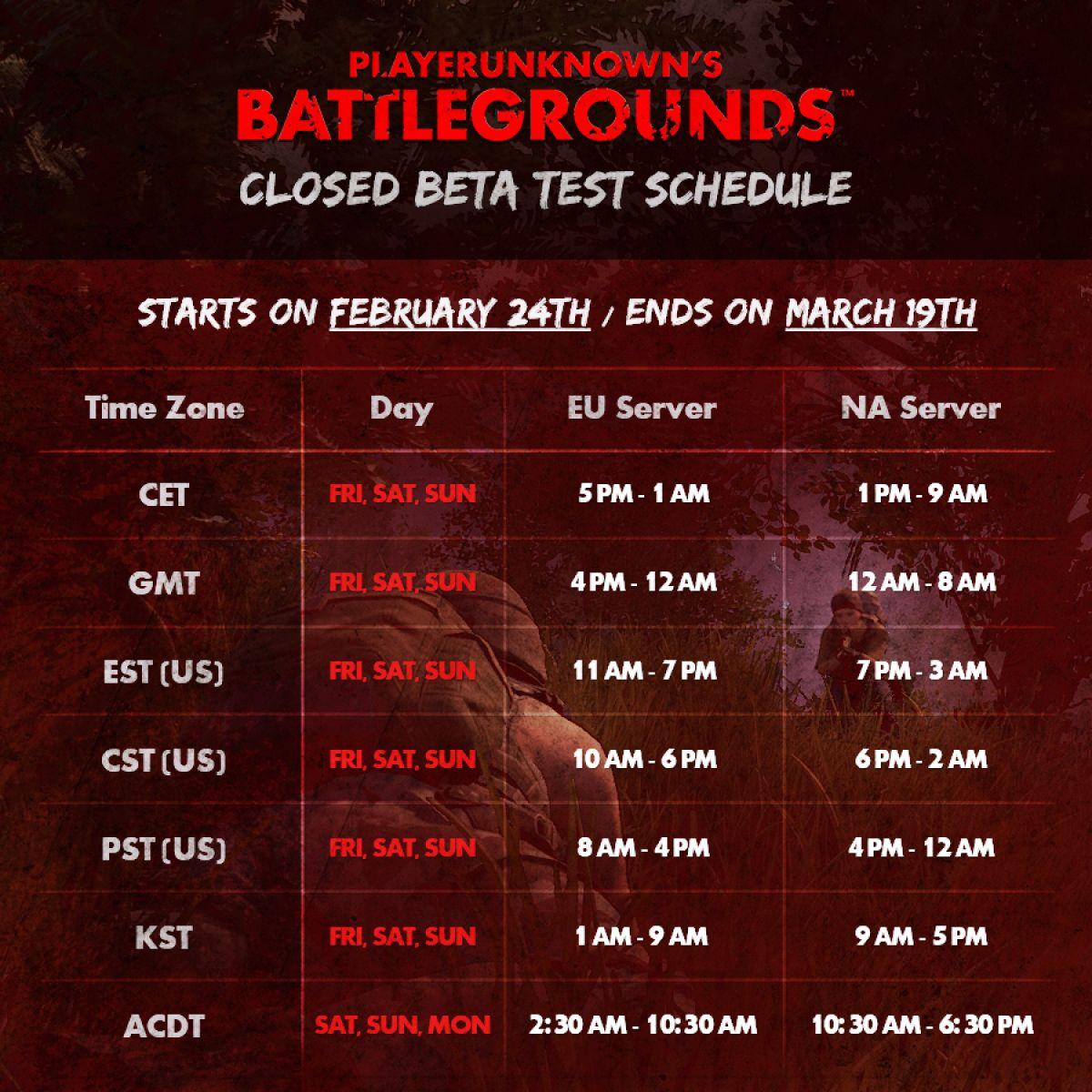 Расписание ЗБТ и системные требования Playerunknown`s Battlegrounds 17789