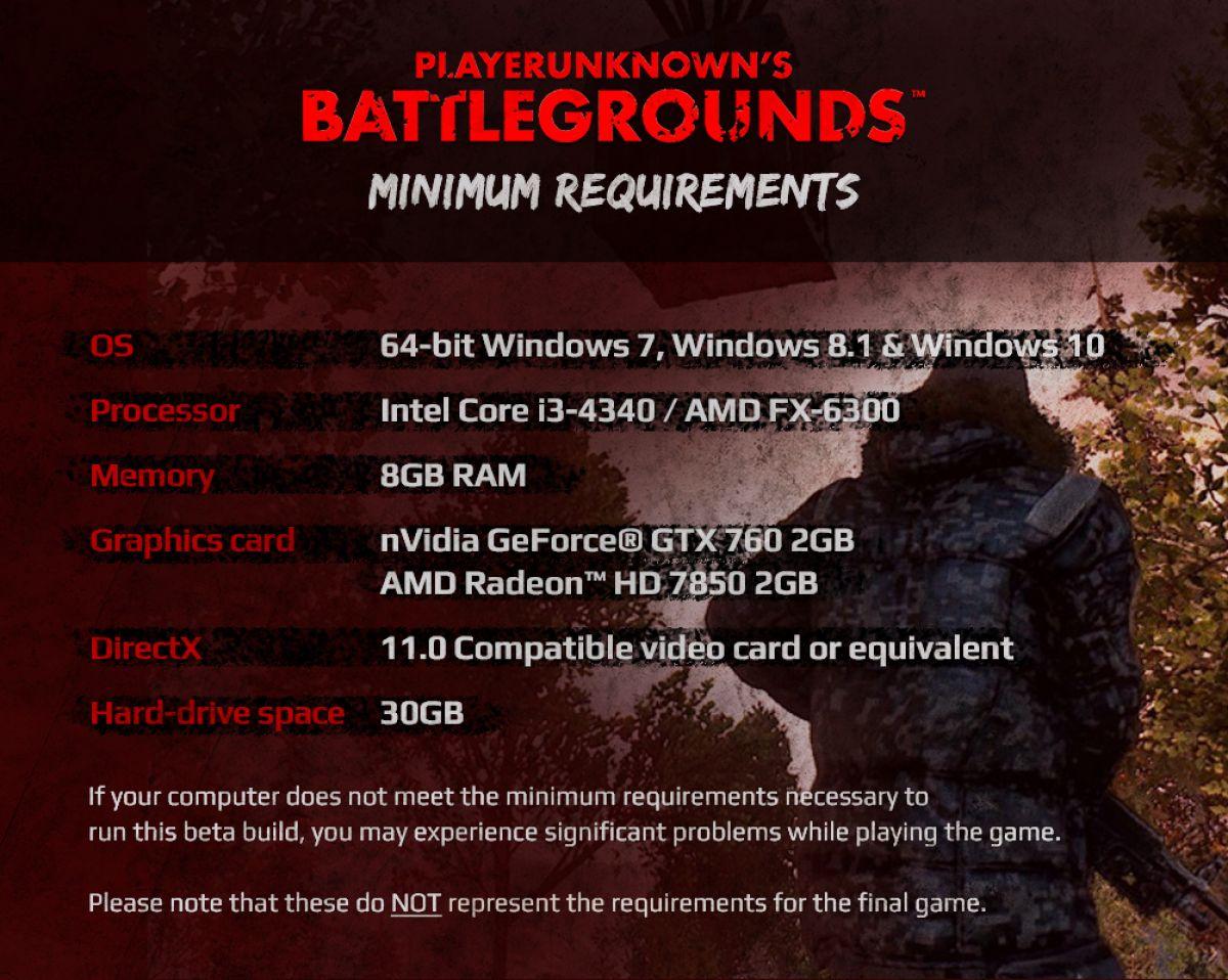 Расписание ЗБТ и системные требования Playerunknown`s Battlegrounds 17790