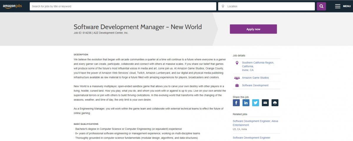 Компания Amazon добирает сотрудников для работы над New World  22795