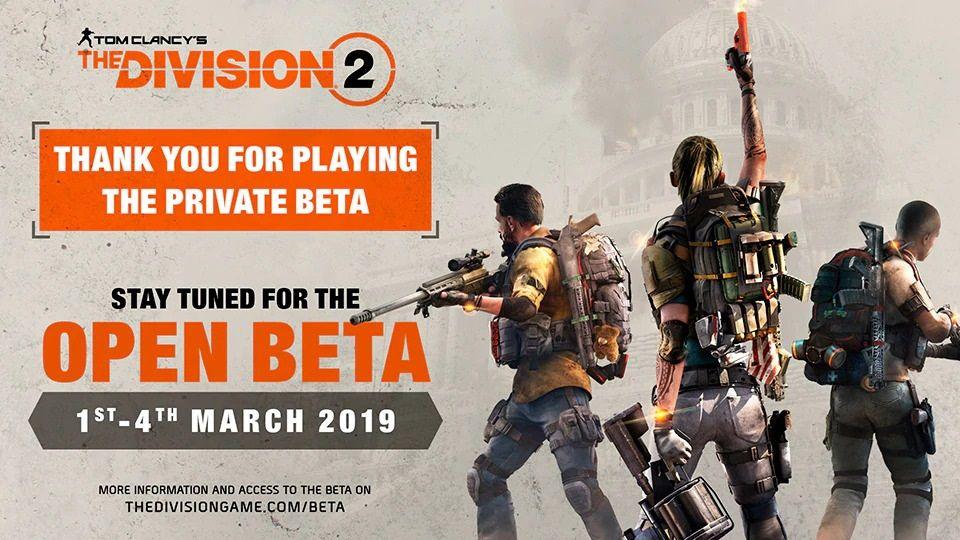Открытый бета-тест The Division 2 пройдет в начале марта
