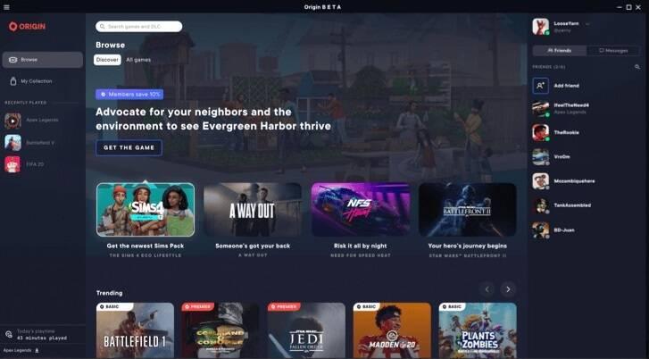 Electronic Arts готовится к тестированию обновленного приложения Origin