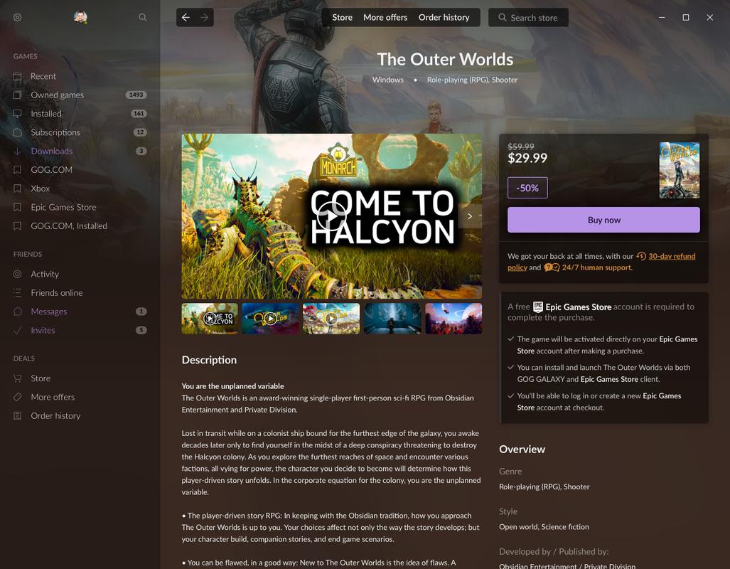 Началось тестирование магазина в GOG Galaxy 2.0. Там есть возможность приобретать игры на других площадках
